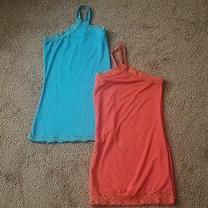 (2) Fashion Bug - Blue and Orange Cami Sz 2X